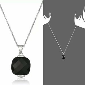 Jewelry - 14K Gold Genuine Faceted Onyx Square Pendant 18""